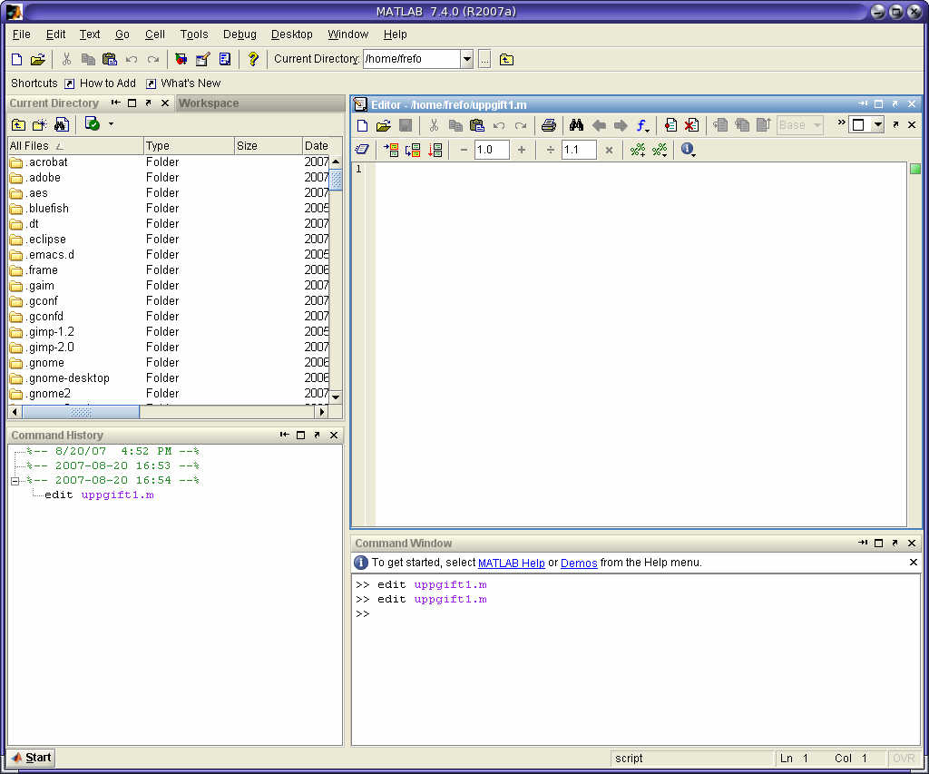 how to run a program in matlab editor